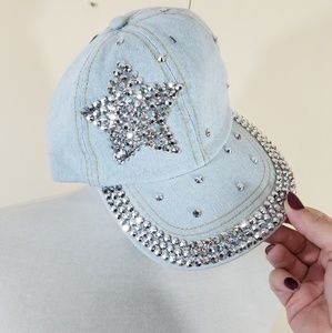 5ba86edfa1d2a Denim baseball cap   hat with bling star